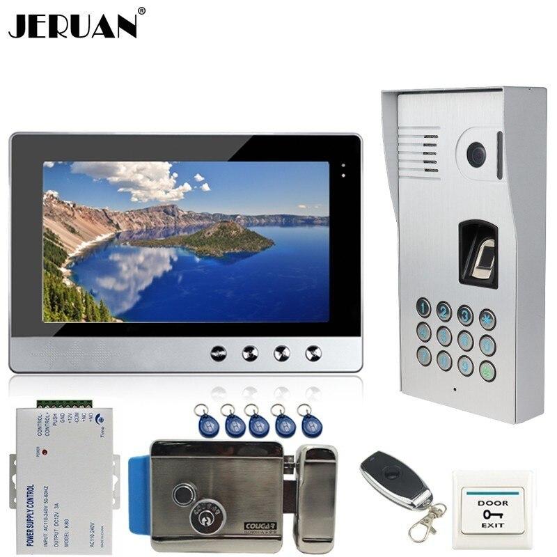 JERUAN 10 дюймов ЖК дисплей видеодомофон домофон Системы Комплект Металл отпечатков пальцев код клавиатуры RFID 120 градусов Камера с замком и клю