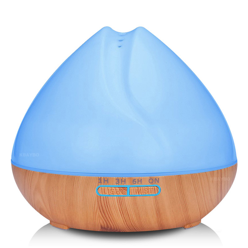 400ml Aroma Essential Oil Diffuser Ultrasonic Air Humidifier for Office Home Bedroom with Wood Grain 7 Color Changing LED Light