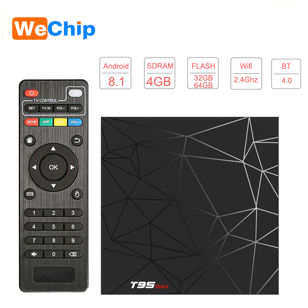 US $32 99 30% OFF|Wechip Smart Android 8 1 TV Box T95 MAX Allwinner H6 4GB  RAM 32GB/64GB 1080P H 265 4K HD TV BOX 2 4G Wifi Wireless Set Top Box-in