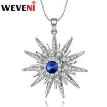 WEVENI Alloy Rhinestone Shiny Sun Flower Necklace Crystal Silver Pendant Chain Choker Fashion Jewelry For Women Girl Ladies Bulk(China)