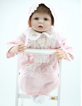 22″ Realistic Reborn Baby Alive Real Look Princess Silicone Girl Doll Knitted Lace Pearls Kits Interactive Toys Women Gift
