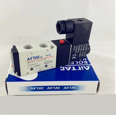 "Free Shipping 1/4"" 2 Position 5 Port AirTAC <font><b>Air</b></font> Solenoid <font><b>Valves</b></font> 4V210-08 Pneumatic Control <font><b>Valve</b></font> , 12v 24v 110v 220v"