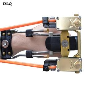 Image 3 - Leistungsstarke Slingshot Bogen Freienjagd katapult mit Geschwindigkeit Gummiband für Jagd Schieß Angeln Aluminiumlegierung Folding Wrist Sling Shot