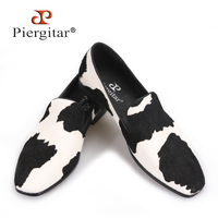 Piergitar 2017 Handmade Men Loafers With Black And White Stitching Fashion Party And Prom Men Dress