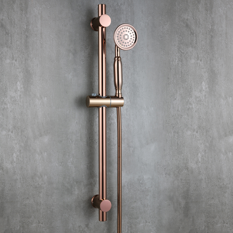 Luxury Rose Gold strong round brass Handhand Shower Head set with Adjustable stainless steel Slide Bar shower head holder