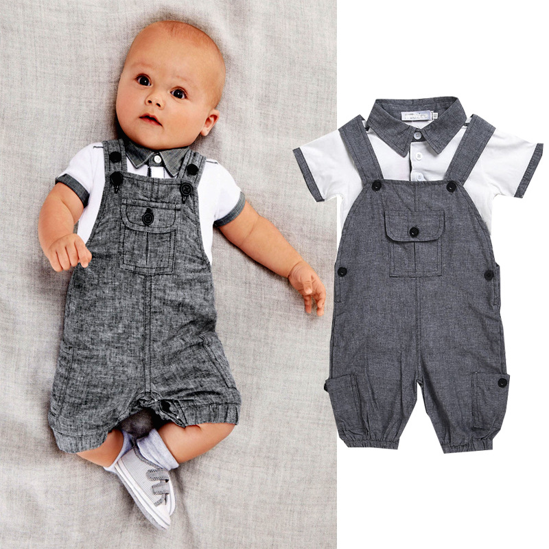 2017 Funny  Newborn Baby Boy Clothes Short Sleeve Tiny Cotton Rompers Jumpsuits+ Pant 2Pcs  Infant Clothing Baby Onesie funny baby funny baby twin 2