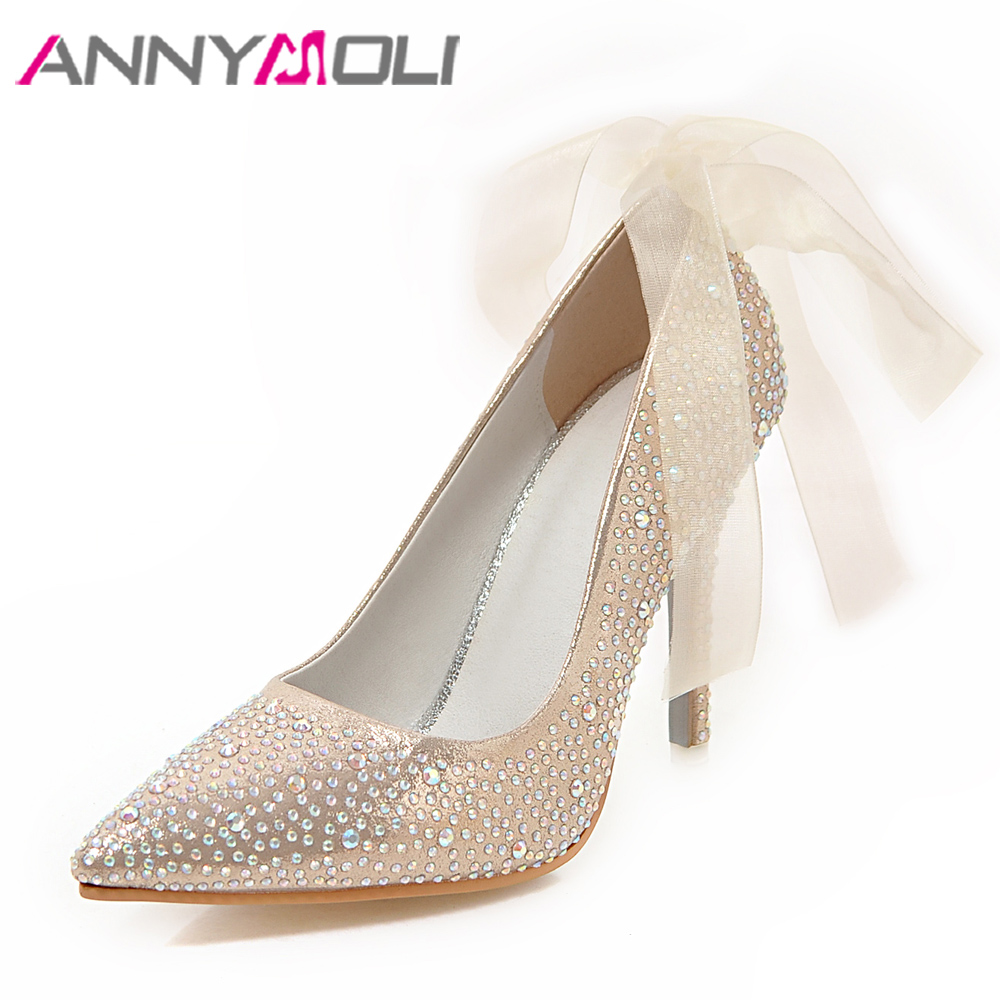 ANNYMOLI Women Pumps High Heels Glitter Wedding Shoes Sexy Pointed Toe Thin Heel Bridal Shoes Spring Party Female Pumps Red Gold pointed toe high heels for wedding party rhinestone covered bridal dress shoes stiletto heel banquet pumps white pink red color