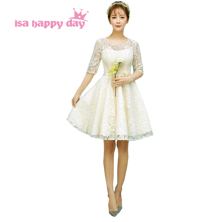 Modest Bridesmaid Girl Knee Length Special Occasion Lace Short Champagne Color Dress Half Sleeve Elegant Teen Dresses H3879