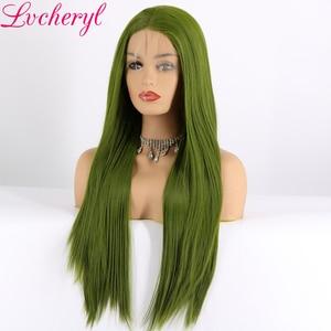 Image 2 - Lvcheryl สูงอุณหภูมิความร้อนทนผมตรงยาวสังเคราะห์ Lace ด้านหน้า Wigs สำหรับลาก Queen คอสเพลย์แต่งหน้า