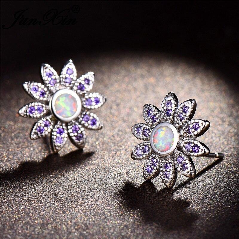 JUNXIN Boho Daisy Stud Earrings For Women Silver Color Round Blue White Fire Opal Earrings Purple Zircon Jewelry