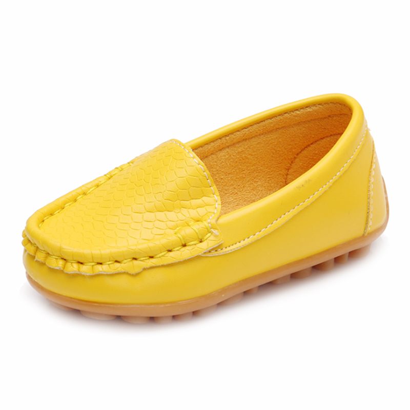 New Children Shoes Classic Fashion PU Shoes for Girls Boys Shoes Flat Casual Kids Shoes(Yellow,RED)