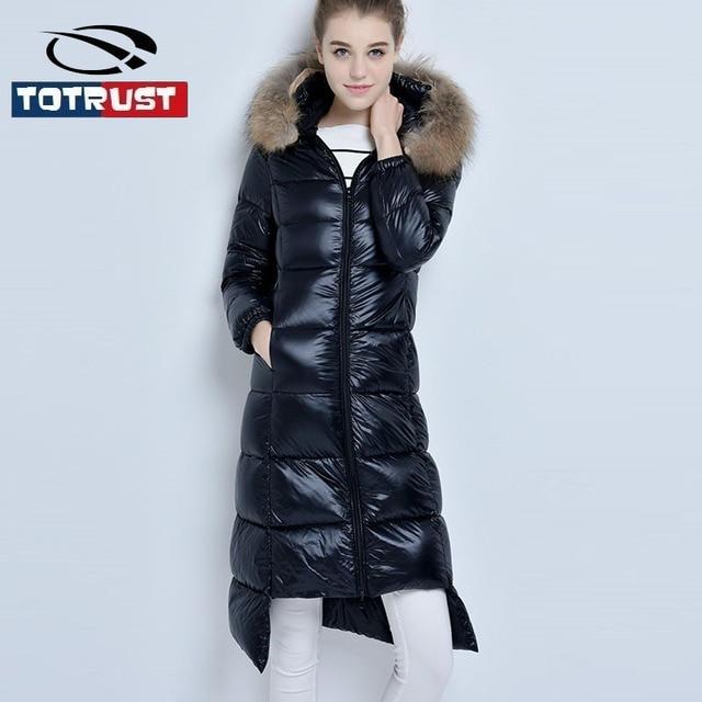 2016 Guaxinim Inverno da Pele Com Capuz Jaqueta de Gola De Pele Longo Fino para baixo Parka Pato Branco Para Baixo Acolchoado Casaco de Inverno Mulheres Jaqueta Outwear