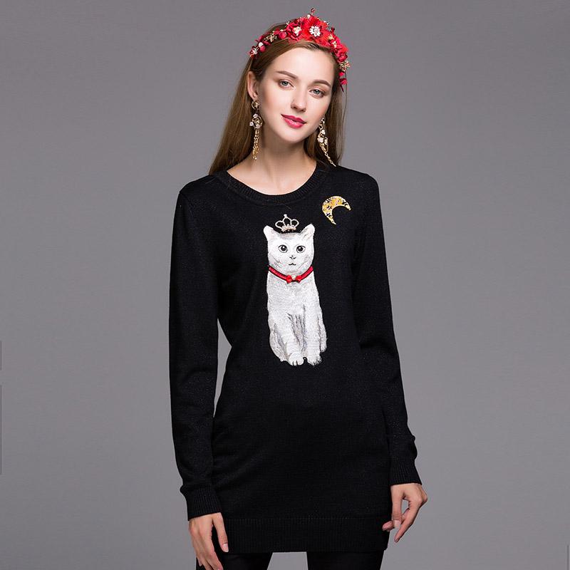 High quality royal women cat black sweater dress 2016 autumn & winter European fashion runway luxury brand wool sweater female