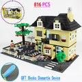 816 unids nueva casa villa enlighten bloques de construcción para niños juguetes de la ciudad compatible pequeñas partículas bloques figura diy juguetes para los niños