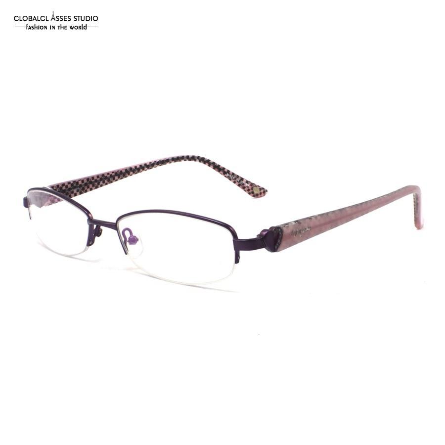 Половина Rim Ретро Металл глаз Очки Для женщин фиолетовый Рамки ...