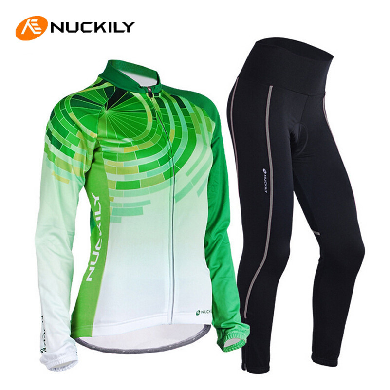 цена на NUCKILY Women Bikes Long Sleeve Cycling Clothing 3D Gel Pad Pants Bicycle Jersey Ciclismo MTB Road Bike Bicycle Cycling Clothing