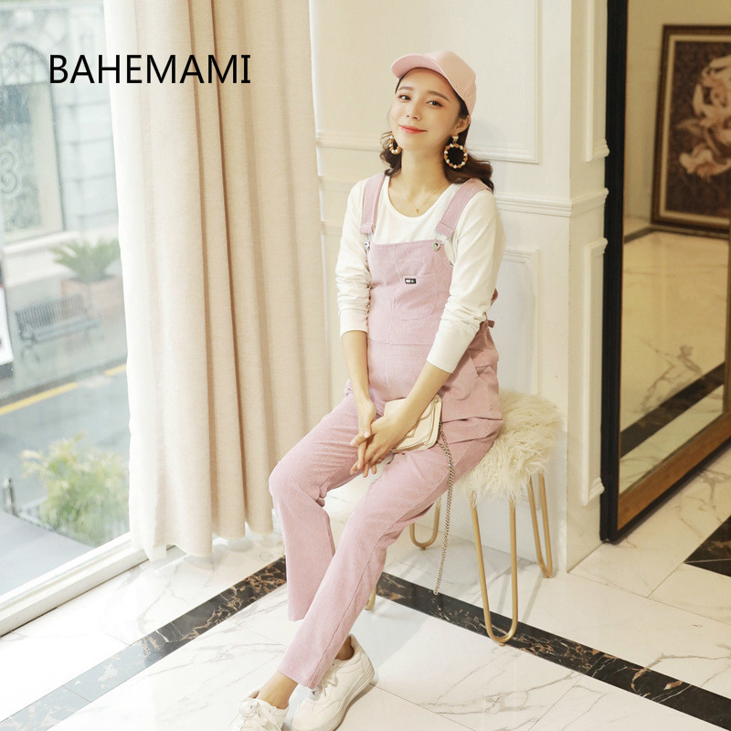 BAHEMAMI New Jumpsuit Maternity Pants Long Corduroy Pregnancy Clothes For Pregnant Women Overalls Roupa Gestante Trousers