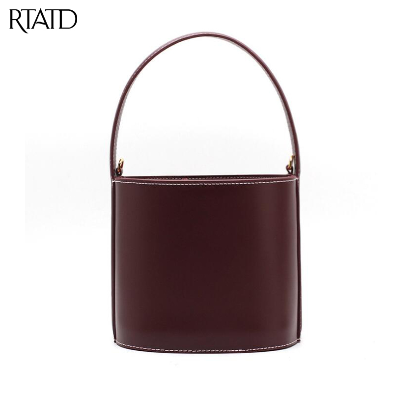 RTATD New 2018 Classic Fashion Tote Small Bucket Popular Women Split Leather Handbags Ladies Bag Female Messenger Bags B026 2018 new classic bucket messenger bags popular tote lady split leather handbags women chains shoulder bags bolsas qn250