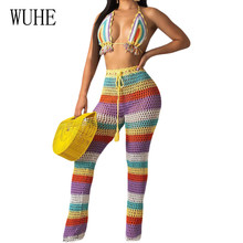 WUHE Summer New Arrival Hollow Out See Through Two Pieces Sets Swimsuits Sexy Open Back Sleeveless Retro Stripe Grid Playsuits