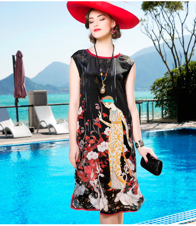 Здесь продается  A9ZZ507 Wholesale Europe and America 2017 new Summer Dress 100% SILK and short sleeved Women Silk Dress  Одежда и аксессуары