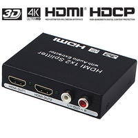 HDMI 1x2 Splitter with Audio Amplifier hdmi Switch Box For Apple TV PS4 HDTV