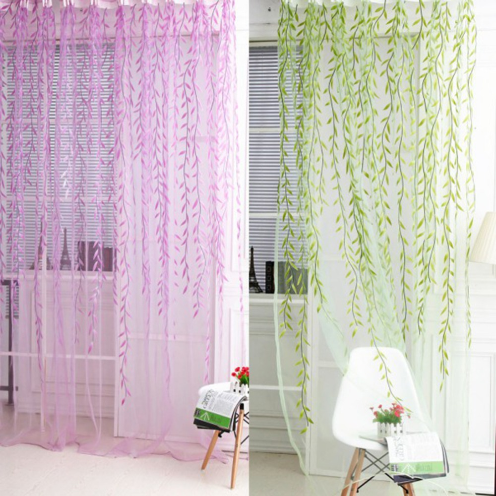 2016 Cafe Kitchen Curtains Voile Window Blind Curtain Owl: 1x2M Home Textile Tree Willow Curtains Blinds Voile Tulle