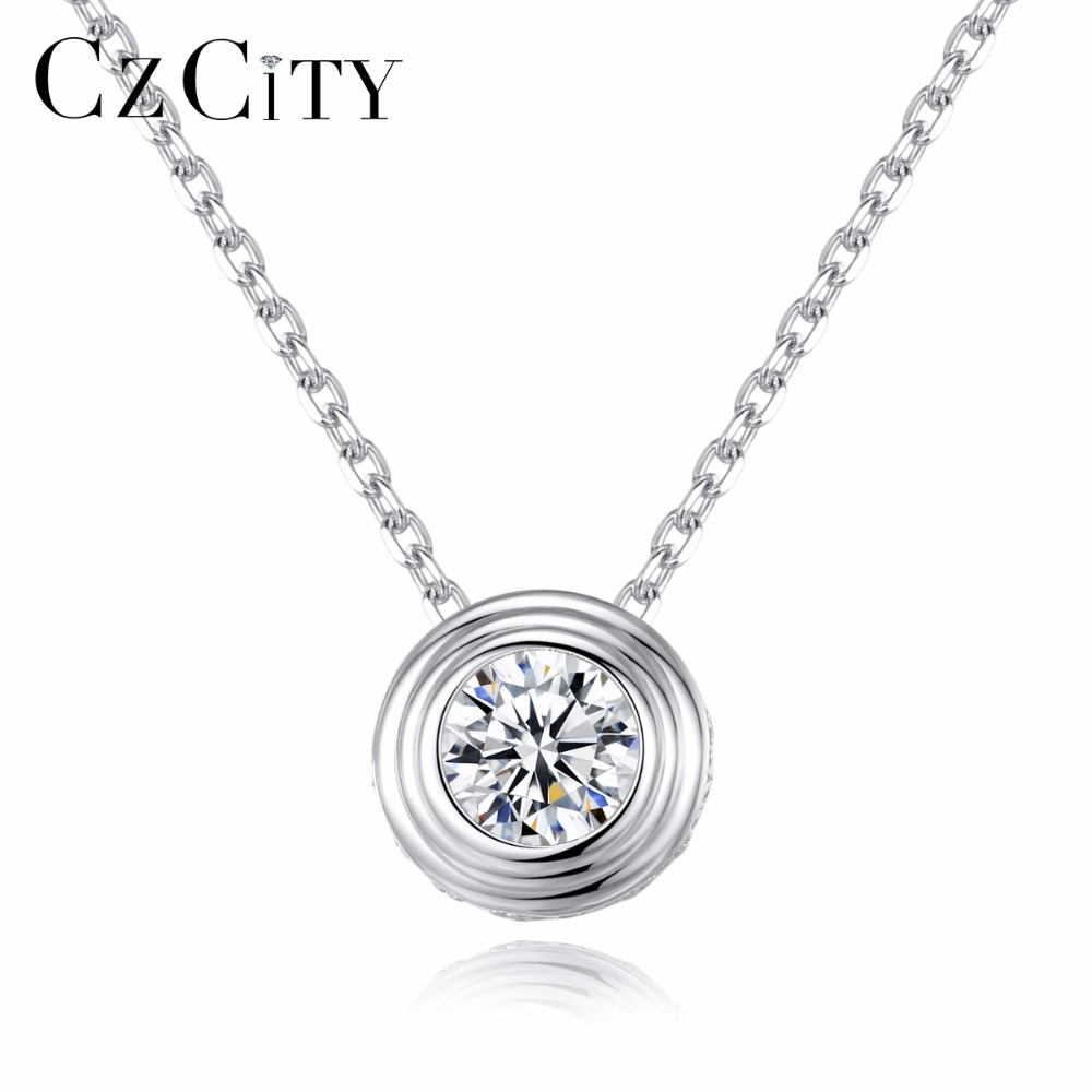 CZCITY Classic 1 Carat Clear Cubic Zirconia Delicate Round Pendant with Italy Box Chain Women Necklace New 2018 Fine JewelryCZCITY Classic 1 Carat Clear Cubic Zirconia Delicate Round Pendant with Italy Box Chain Women Necklace New 2018 Fine Jewelry