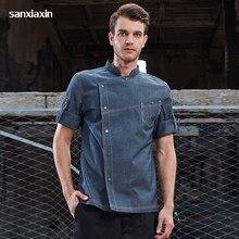 new Wholesale unisex Denim Fabric Chef Jacket Bakery clothes