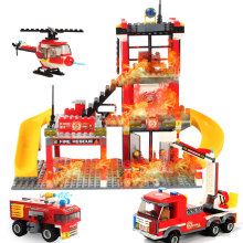 Marine Fire Station Building Bricks Fireman Model City Series Blocks Rescue Role Play Learning Toys for Boys