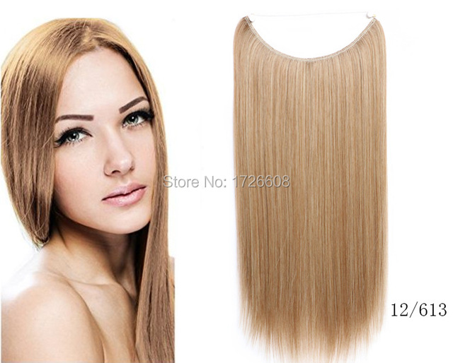 Flip Hair Weft Extension No Clip No Glue Fish Line Straight Halo