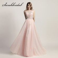 sarahbridal Pink Long Prom Dresses 2019 O Neck Floor Length