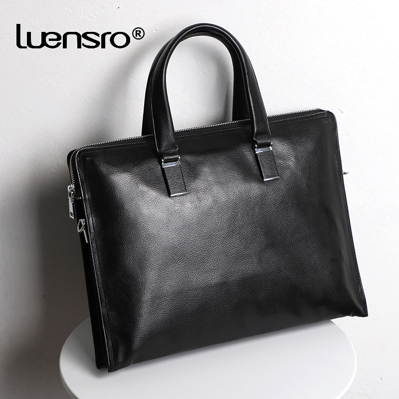 Multiple Compartment Men Bag Briefcase Genuine Leather Male Handbag Tote Men Laptop Briefcase Leather Shoulder Bags Business Bag