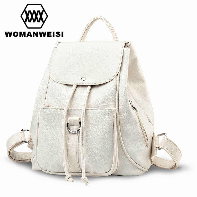 2017 Fashion High Quality Leather Beige Gray 2 Color Women Backpack Brand Travel Bags Schoolbag Female Drawstring Bagpack 2016 fashion women s backpack beige