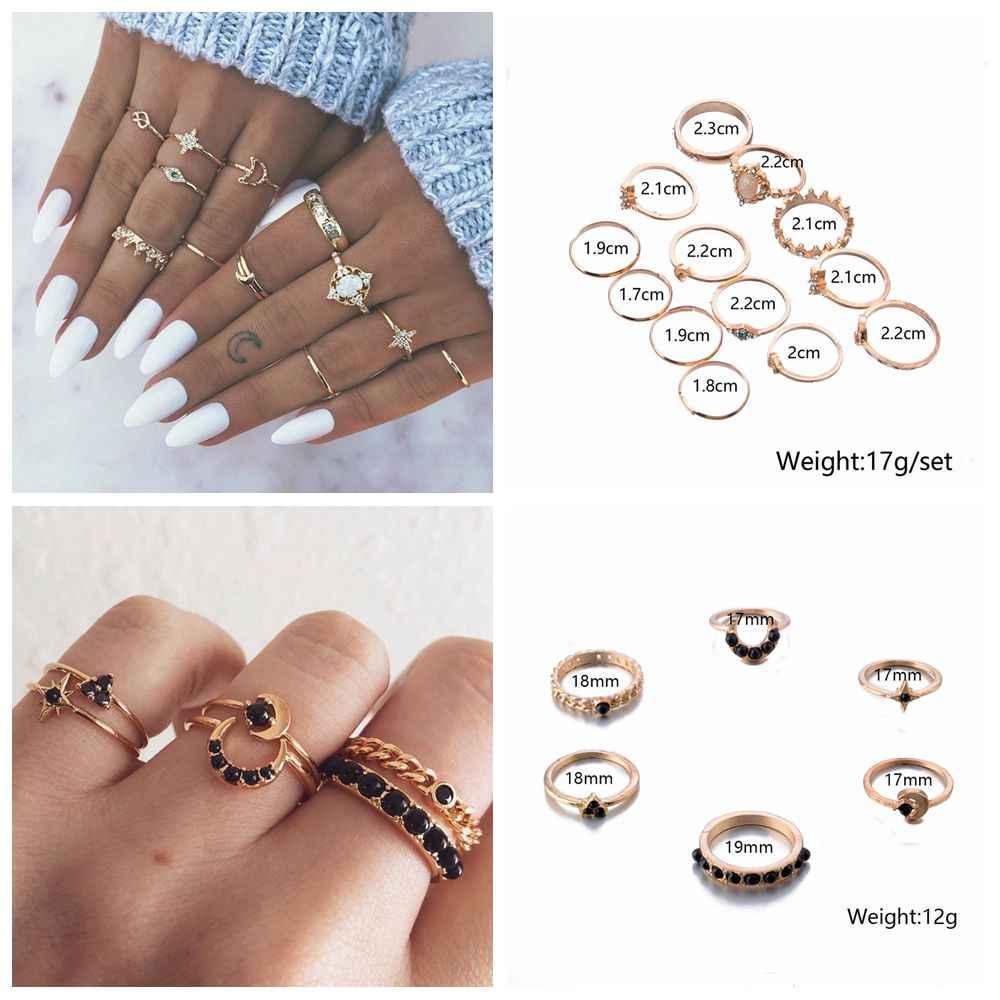 ฟรีพัดลม 15 ชิ้น/เซ็ต Cross Fatima Hand Punk แหวนชุดผู้หญิงสีเรขาคณิตรูปแบบ Hollow ดอกไม้แหวนหญิงเครื่องประดับ