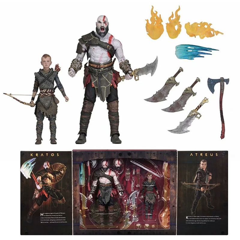 2pcs/set Original NECA God Of War 4 Kratos And Son Atreus UltimateAction Figure Collectable Model Toy Birthday Gift For Kids
