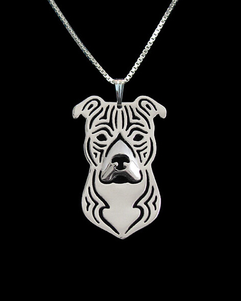 Necklace fashion pit bull pendant Silver gold   colors 1
