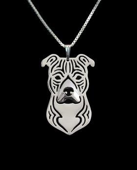 Necklace fashion pit bull pendant Silver gold   colors 1