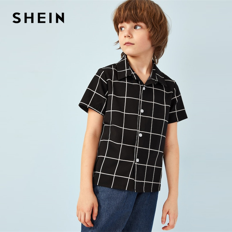SHEIN Kiddie Black Plaid Single Button Front Toddler Boys Shirts Kids Tops 2019 Summer Short Sleeve Casual Children Shirt Top 5000ml quickfit 40 socket lab glass flask round bottom single short neck ware