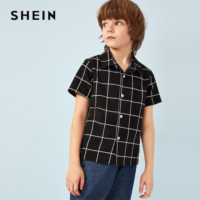 SHEIN Kiddie/черная клетчатая рубашка с одной пуговицей спереди для маленьких мальчиков детские топы 2019 года, летняя повседневная детская рубашка с короткими рукавами, Топ