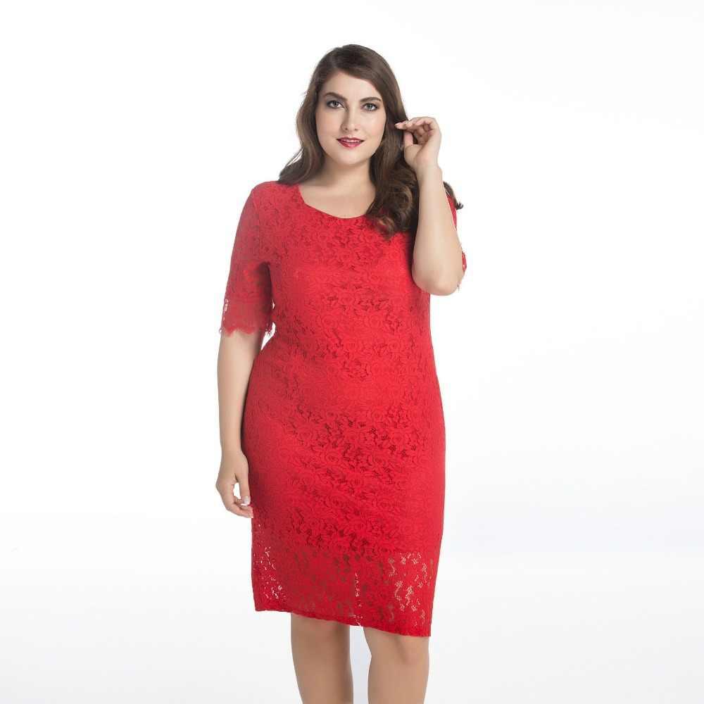 c2ee09d312c ... QMGOOD 10XL 9XL большой размер женские платья с коротким рукавом  однотонное кружевное платье плюс размер 8XL ...