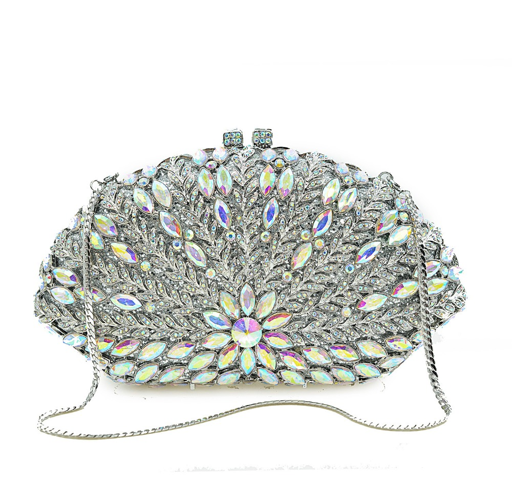 XIYUAN women silver crystal diamond evening bags chain shoulder bag crossbody messenger bag party prom wallet purse handbags xiyuan brand luxury evening bag gold silver diamond party prom purse women wedding bridal chain handbags mini cshoulder bag