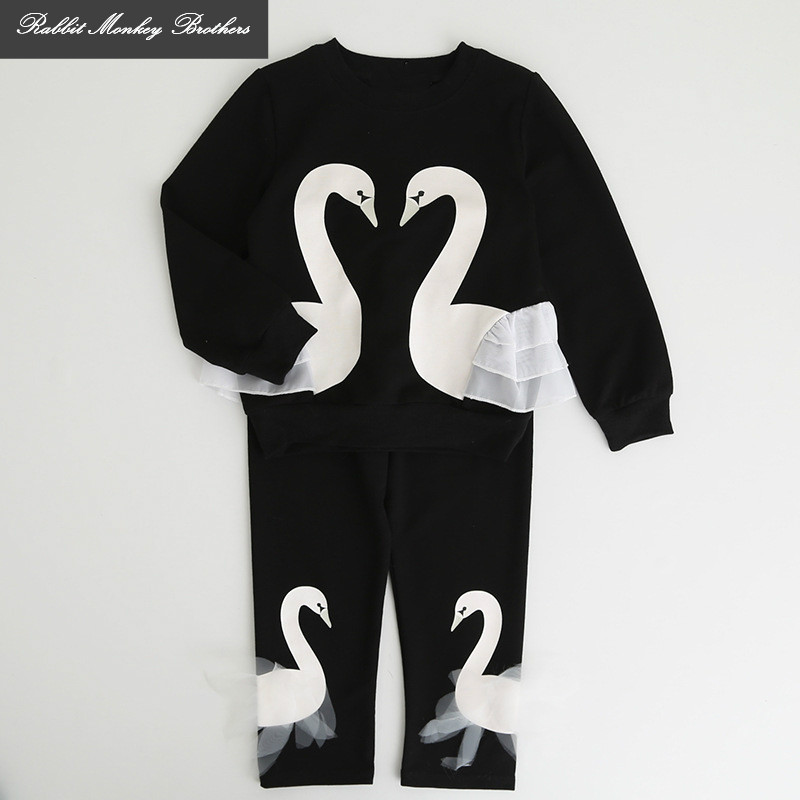 RMBkids Spring and Autumn new girls clothing set Girl Cotton Swan Print Long Sleeve T-Shirt + Pants Trousers set Children's suit rmbkids spring and autumn new girls clothing set girl cotton swan print long sleeve t shirt pants trousers set children s suit