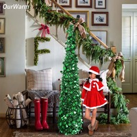 Ourwarm 1pc Pop Up Christmas Tree Artificial Tinsel Green Easy to Put Up Fireplace Decoration Home Party Supplies 150cm