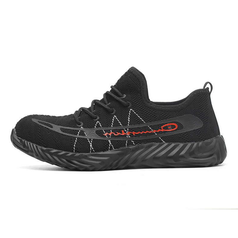Drop Shippingเหล็กtoecapผู้ชายผู้หญิงทำงานพลัสขนาด 35-46 ฤดูร้อนCasualความปลอดภัยน้ำหนักเบาชายรองเท้าผู้หญิงรองเท้าRXM122