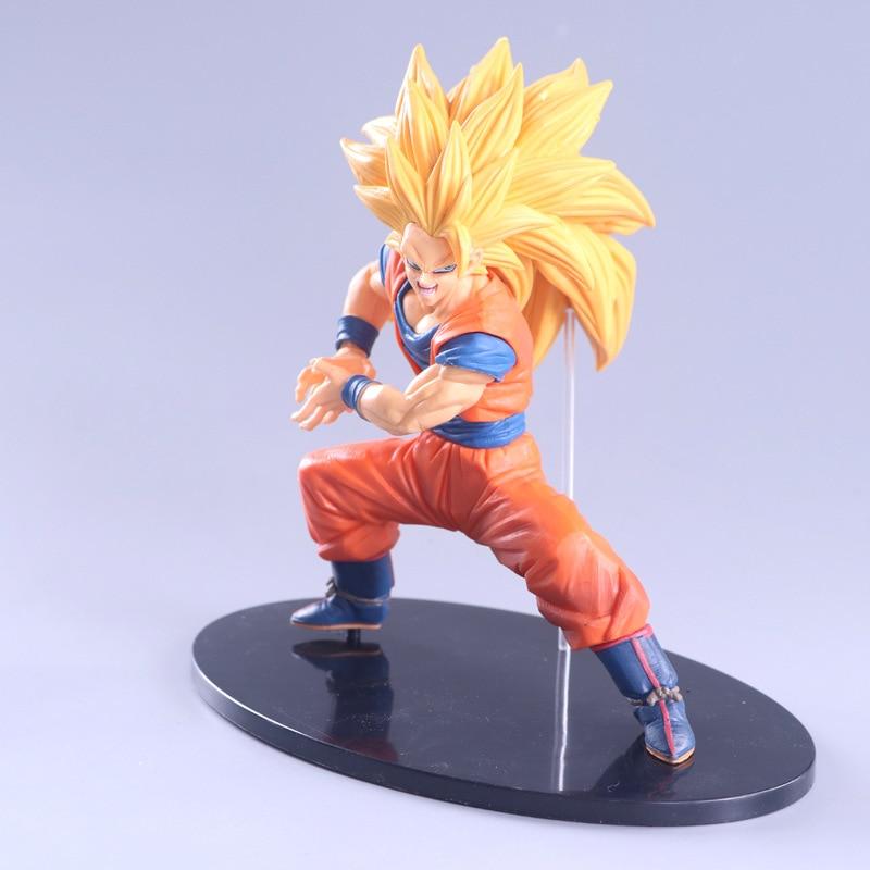 Dragon Ball Z Goku Super Saiyan 3 Kneeling Wave Chocolate Brush Saiyan 3 Blood Pvc Figure Dbz Collection Model 20cm Action & Toy Figures