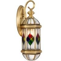 Античная латунь Бра Открытый/Indoor светодио дный Дизайн Стекло бра D20cm латунь цвет стены освещение лампы Настенные Кронштейны освещение