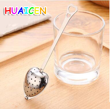 Hot Sale Heart Shape Stainless Steel Tea Infuser Teaspoon Strainer Spoon 4 14cm 50pcs lot TB0231