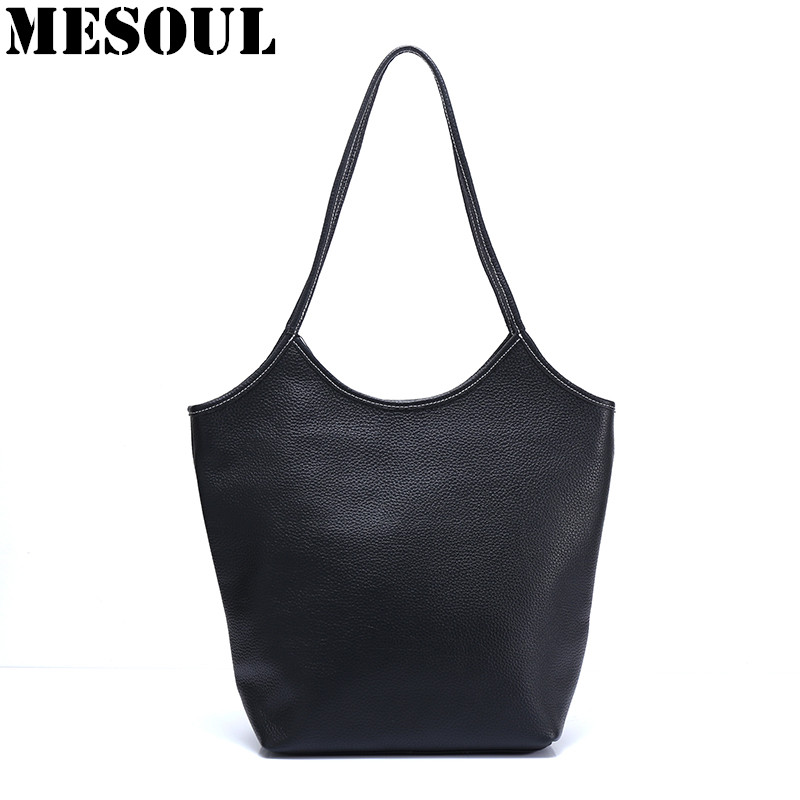 100% Genuine Leather Women Bag Bucket Shoulder Bags Solid Fashion Women Handbag Large Capacity Tote Bolsas Feminina Famous Brand 2017 esufeir brand genuine leather women handbag fashion shoulder bag solid cowhide composite bag large capacity casual tote bag