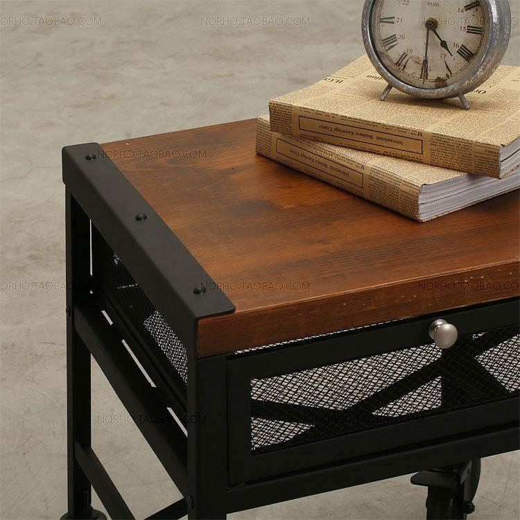 La aldea de muebles retro, la moda clásica de madera y hierro mesa ...