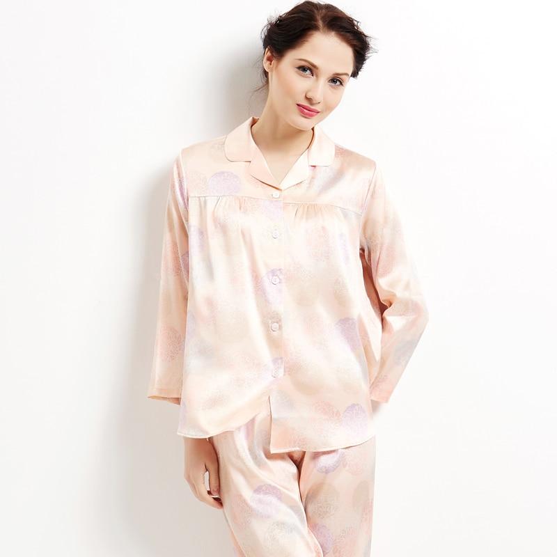 Женские шелковые пижамы женская летняя обувь шелк упругие атласа с длинными рукавами и принтом комплект для дома